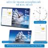 Tranh lịch để bàn đế gỗ tích hợp đồng hồ xem giờ - thuận buồm xui gió biển xanh (độ bền 10 năm)