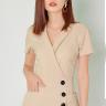Đầm công sở thời trang Eden cổ vest tay ngắn (da) - D323