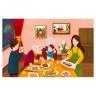 Tranh bữa cơm gia đình khổ lớn TMN-136