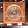 Khung tranh mặt trống đồng đường kính 60cm, đồng đỏ hoa văn chìm tinh xảo, khung gỗ hương đá