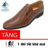 Giày lười công sở nam da bò cao cấp N101MN (nâu) Lucacy - tặng tất khử mùi