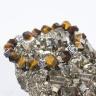 Vòng tay phong thủy nữ đá mắt hổ vàng kiểu mài đa giác độc đáo phối charm hoa sen bạc thái 925 BTIGPS1 VietGemstones