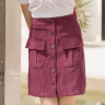 Chân váy nhung gân túi đắp kimi - VN190051