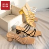 Dép cao gót Erosska thời trang mũi vuông phối dây quai mảnh cao 5cm EM038 (NU)