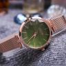 Đồng hồ nữ dây kim loại chính hãng Julius Hàn Quốc JA-1225C Đồng mặt xanh ngọc.