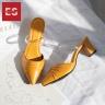Dép nữ, dép cao gót thời trang Erosska bít mũi quai trong phối họa tiết đơn giản cao 5cm EH030 (màu đen)