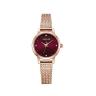 Đồng hồ nữ dây kim loại chính hãng Julius Star Hàn Quốc JS-045B Đồng mặt đỏ.