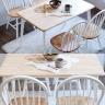 Bộ bàn ăn Windsor màu trắng 6 ghế ( Bàn 1m4 )