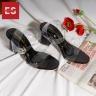 Giày nữ, giày sandal cao gót thời trang Erosska mũi vuông quai mảnh phối mica trong hở gót cao 7cm EB017 (màu đen)