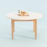 Bàn sofa, bàn cafe, bàn trà tròn MOHO LIKA màu trắng phối gỗ