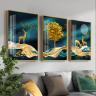 Tranh treo tường tráng gương pha lê cao cấp hươu vàng phú quý ̣(50x70x3cm)