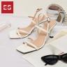Giày cao gót Erosska thời trang phối dây gót nhọn kiểu dáng xỏ ngón cao 7cm BM004