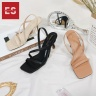 Giày sandal cao gót thời trang Erosska quai mảnh mũi vuông quai ngang phối dây tinh tế đế cao 7cm EB022