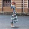 Đầm maxi hoa thời trang thiết kế Hity DRE125 (in lá xanh)