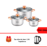 Bộ 3 nồi inox 4 đáy Nagakawa NAG1306 (16cm, 20cm, 24cm) - dùng với mọi loại bếp - Tặng Ấm siêu tốc inox 1,8L