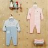 Bộ body cho bé - kẻ cài giữa phối thân trước vải tre cao cấp Haki (newborn - 12m) BB030