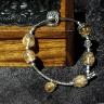 Lắc tay Thạch Anh Tóc Vàng 10mm  phối Charm bạc - BRUT01 - VietGemstones