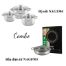 Combo ưu đãi - Bếp từ đơn Nagakawa NAG0703 và Bộ 3 nồi inox cao cấp 4 đáy Nagakawa NAG1304