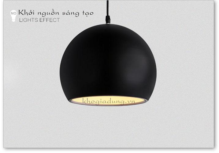 Đèn treo thả trần tròn màu đen đường kính 30cm