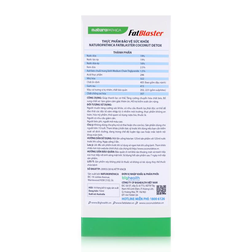 Naturopathica Fatblaster Coconut Detox 750ml - Thức uống giảm cân, thanh lọc cơ thể vị dừa