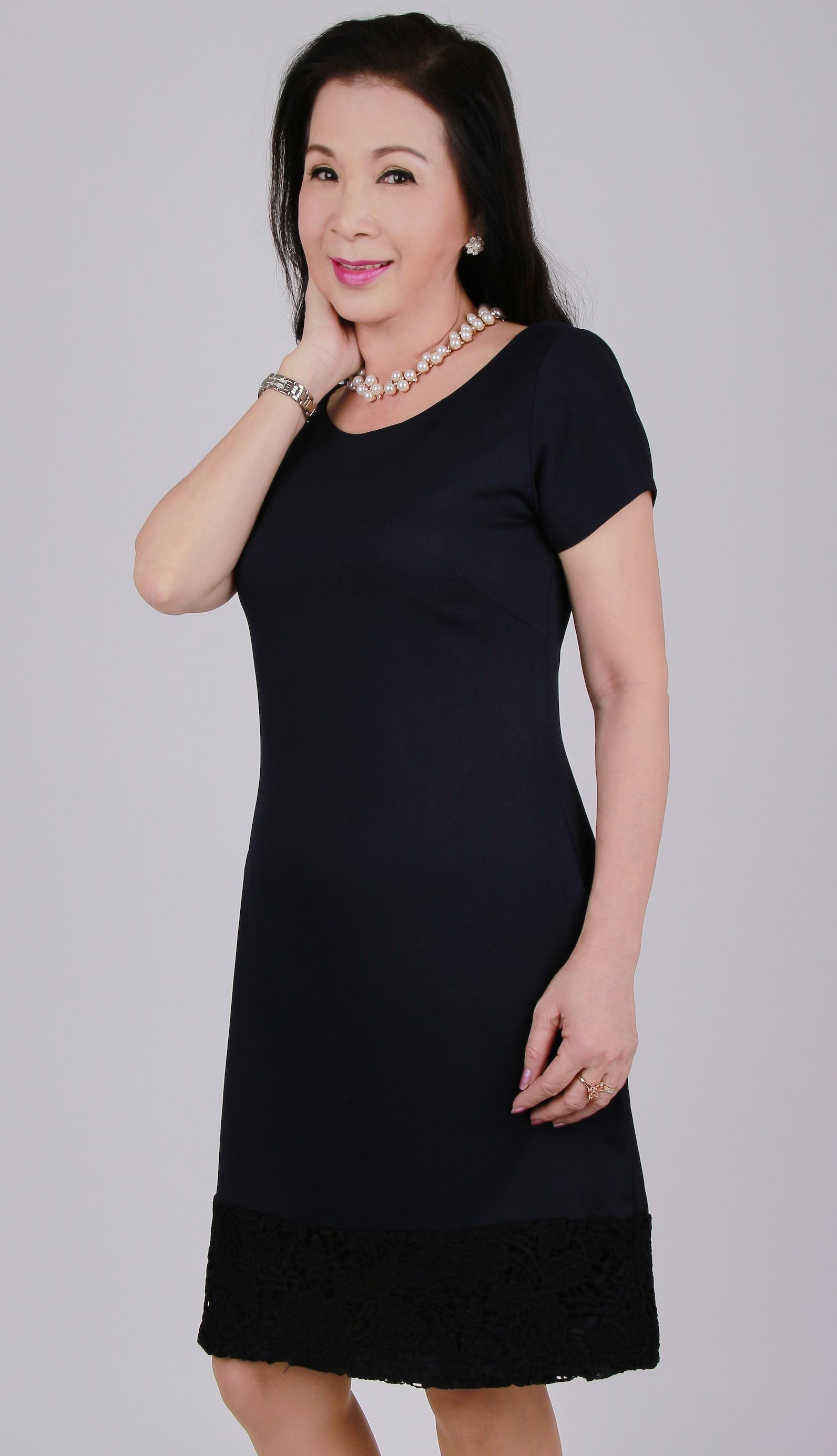 Đầm nữ trung niên ôm ngắn tay - UPAR29