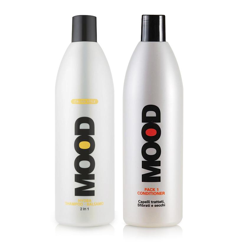 Combo dầu gội 2 trong 1 và dầu xả mượt tóc Mood 1000ml/chai