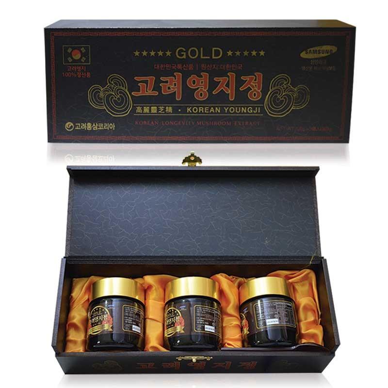 Cao linh chi núi Hàn Quốc hộp gỗ đen cao cấp 120g X 3 hũ ( Korean Longevity Mushroom Extract )