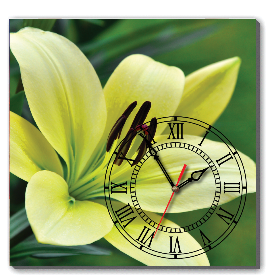 Dyvina 1T4040-88 - Đồng hồ tranh hoa Lily vàng