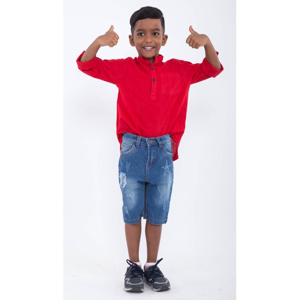 Quần jeans lửng bé trai Ugether UKID158 (Xanh jeans nhạt)