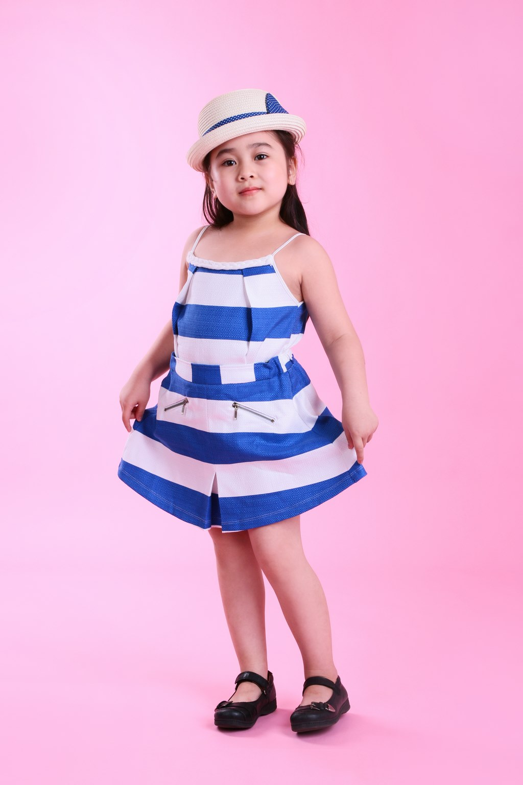 Set bộ váy kèm áo bé gái UKID38 (Sọc)