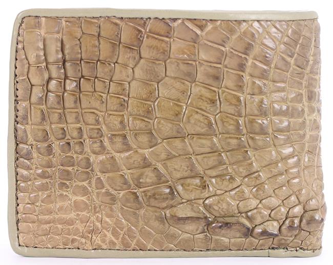 HV2261 - Bóp nam Huy Hoàng da cá sấu gù chân màu rêu