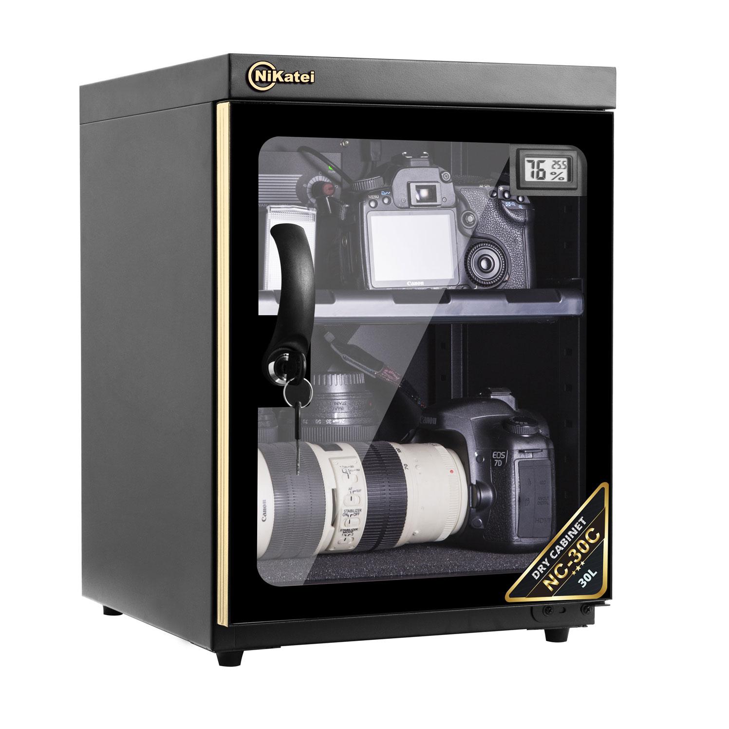 Tủ chống ẩm cao cấp Nikatei NC-30C viền nhôm mạ vàng Gold (30 lít)