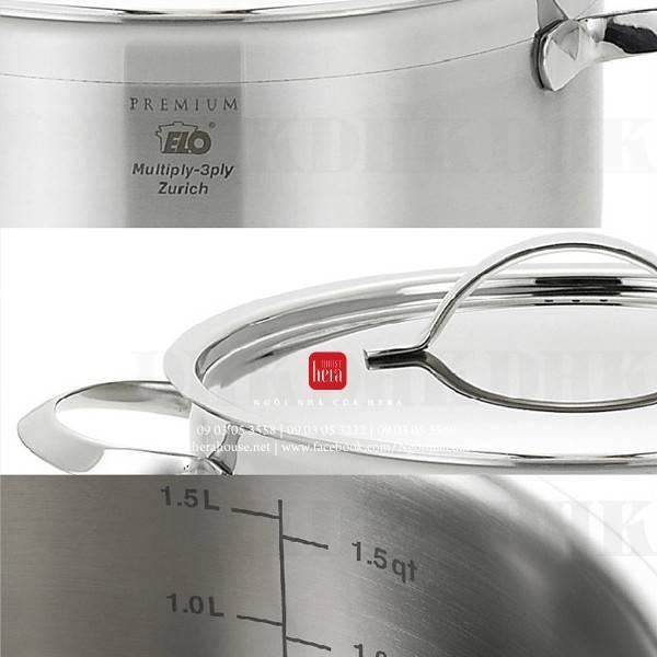 Bộ nồi inox Elo Zurich Multipayer inox bếp từ inox 304 - 3 lớp