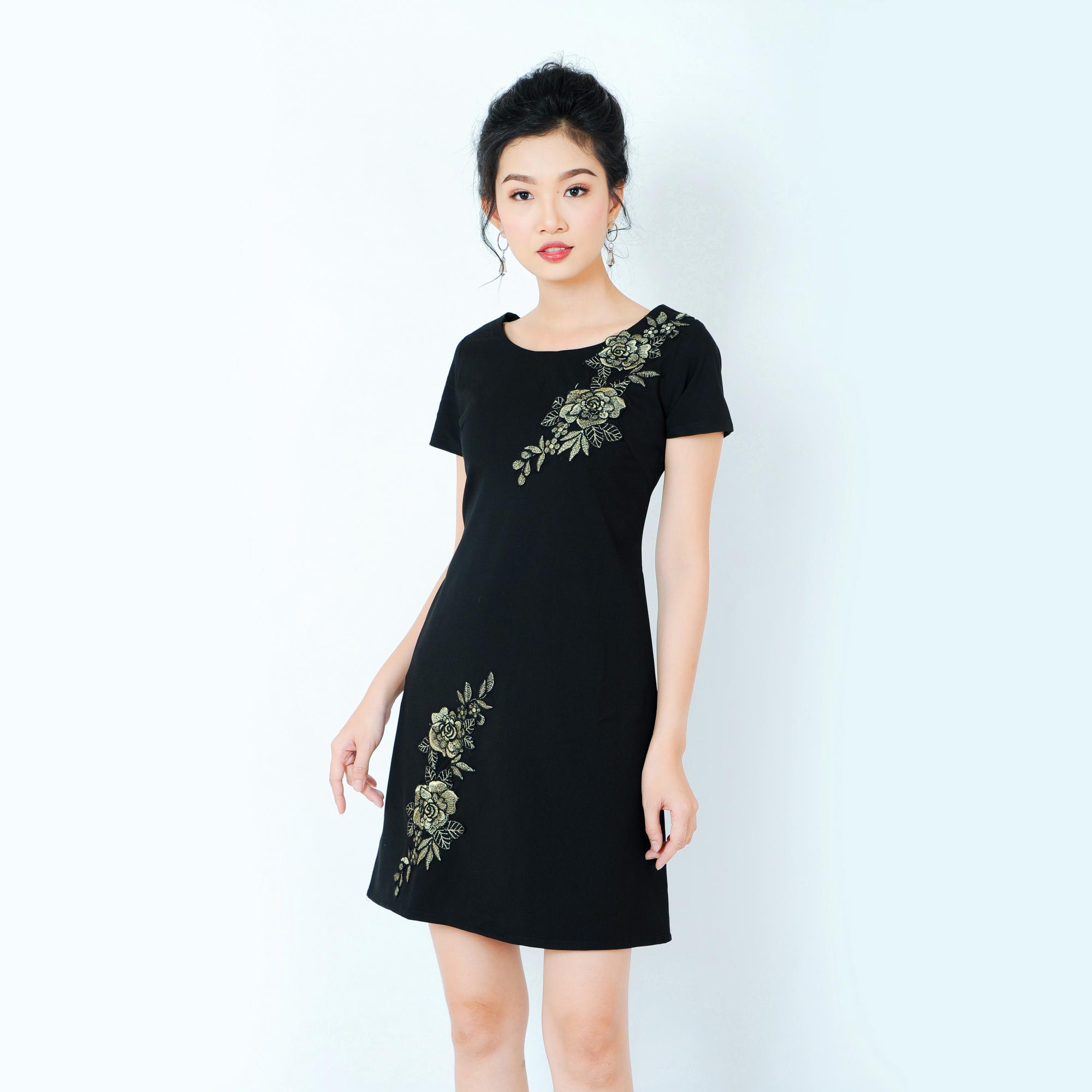 Đầm suông thêu hoa đơn giản thời trang Eden d206