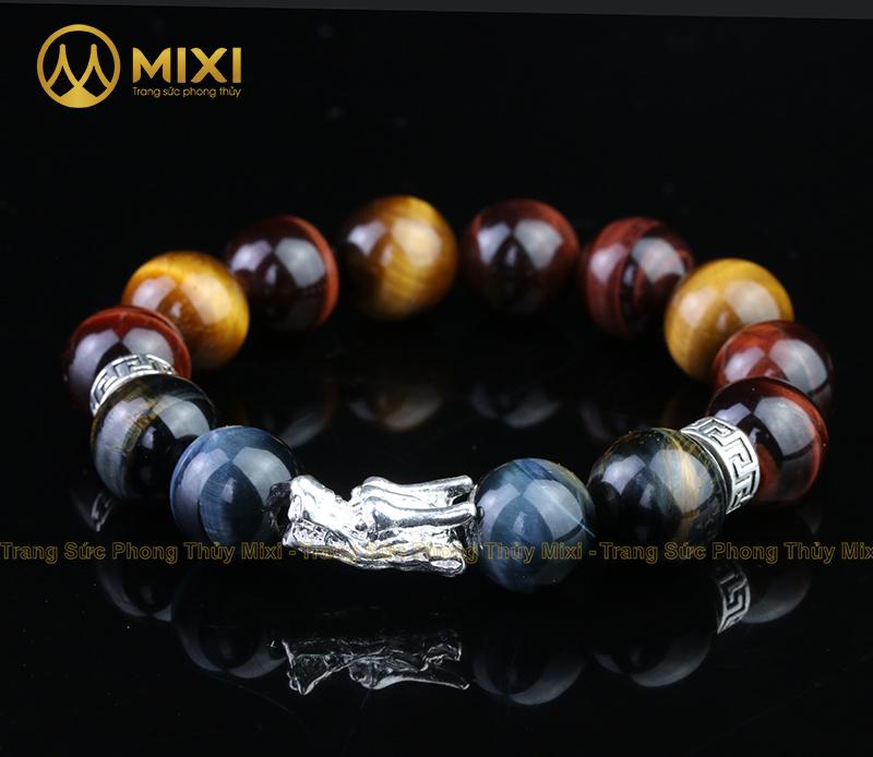 Vòng tay đá quý phong thủy mắt hổ ba màu 12 ly mix đầu rồng bạc