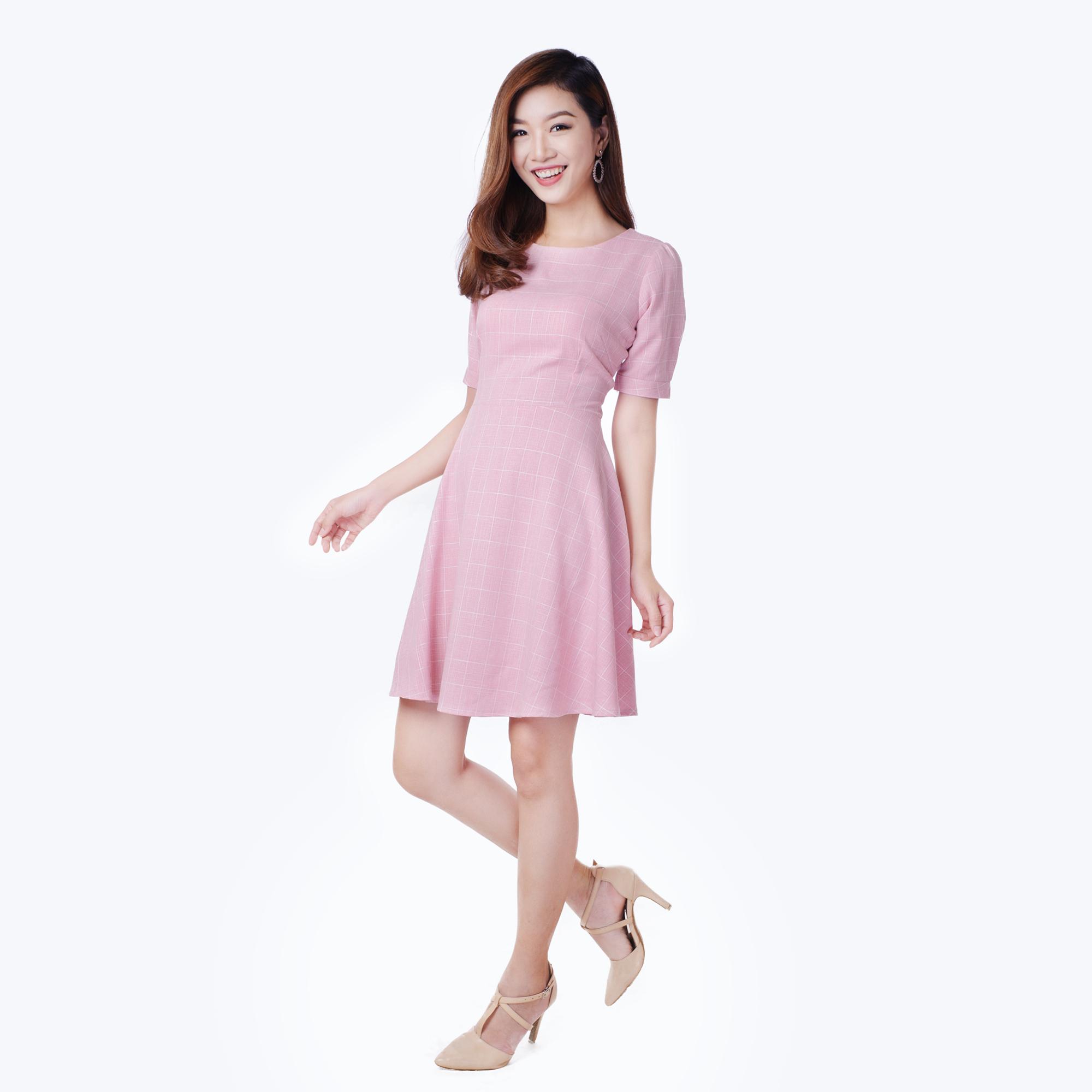 Đầm caro form xòe đơn giản thời trang Eden d154 (hồng nhạt)