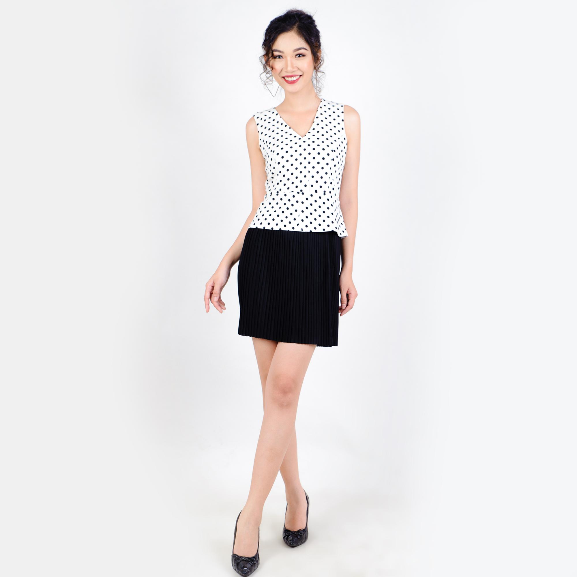 Đầm chấm bi dập li thời trang Eden d181 (trắng)