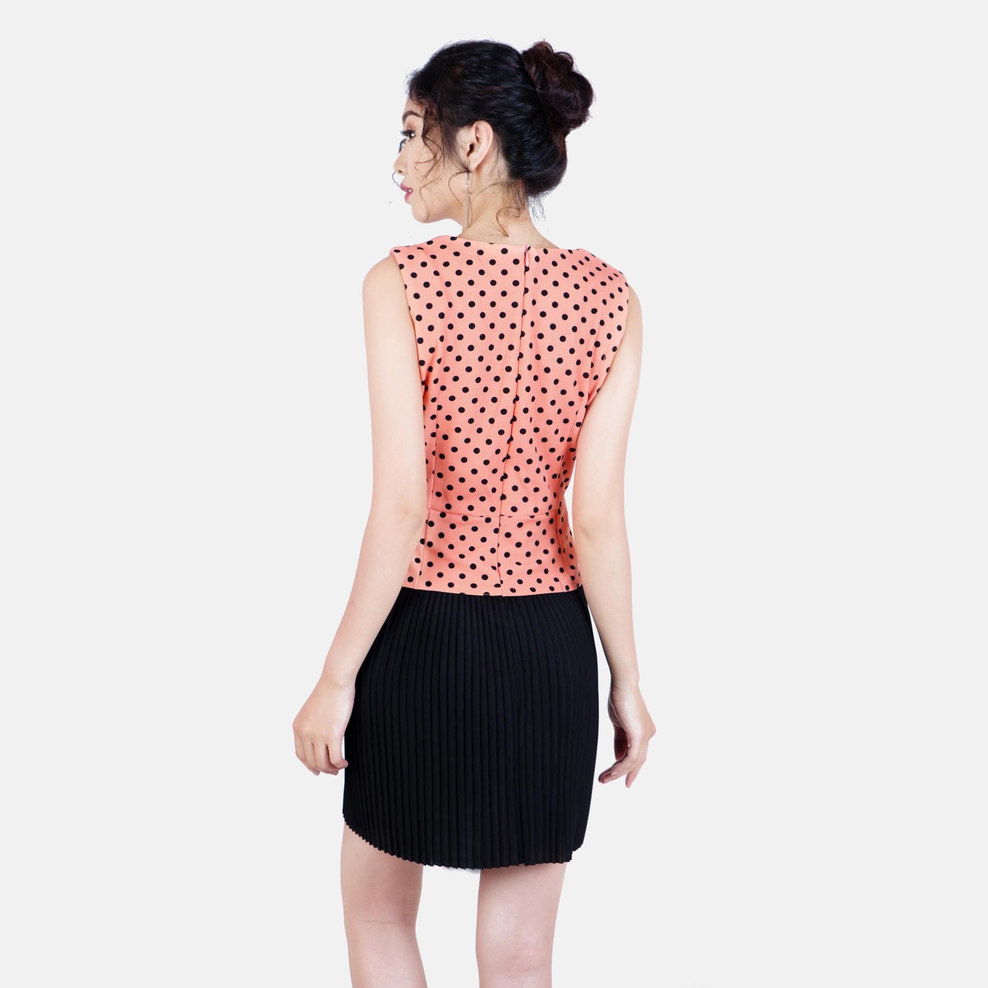 Đầm chấm bi dập li thời trang Eden d181 (cam nhạt)