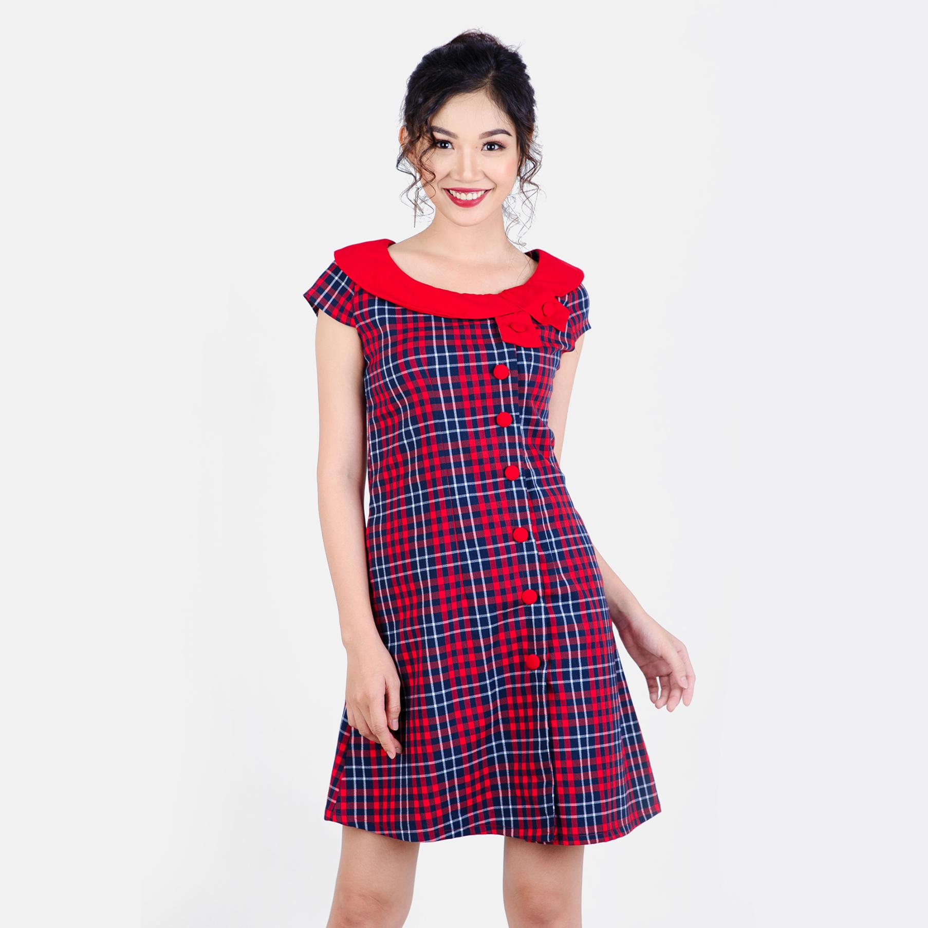 Đầm caro phối nơ cổ thời trang Eden d186 (đỏ)