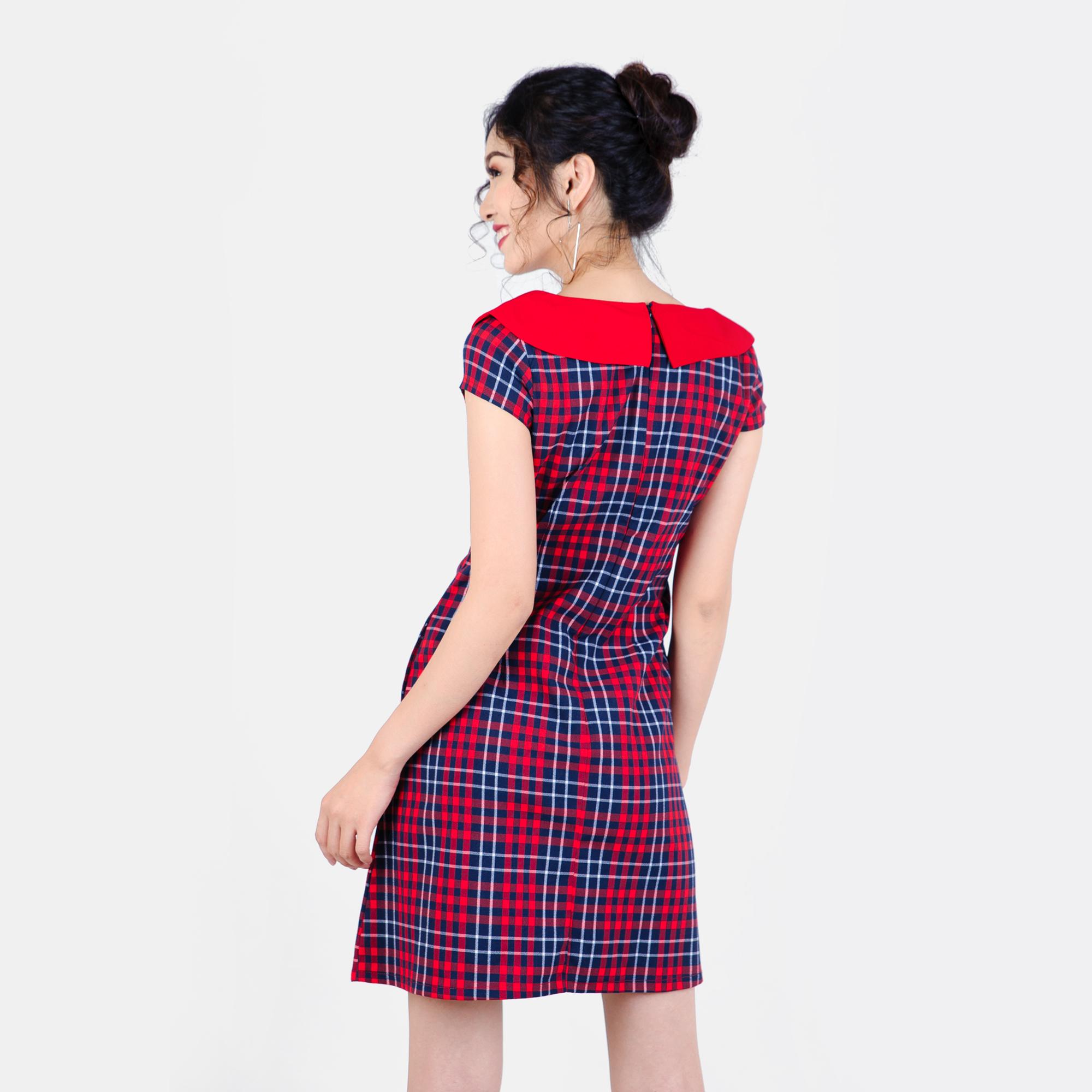 Đầm caro phối nơ cổ thời trang Eden d186 (caro đỏ xanh)