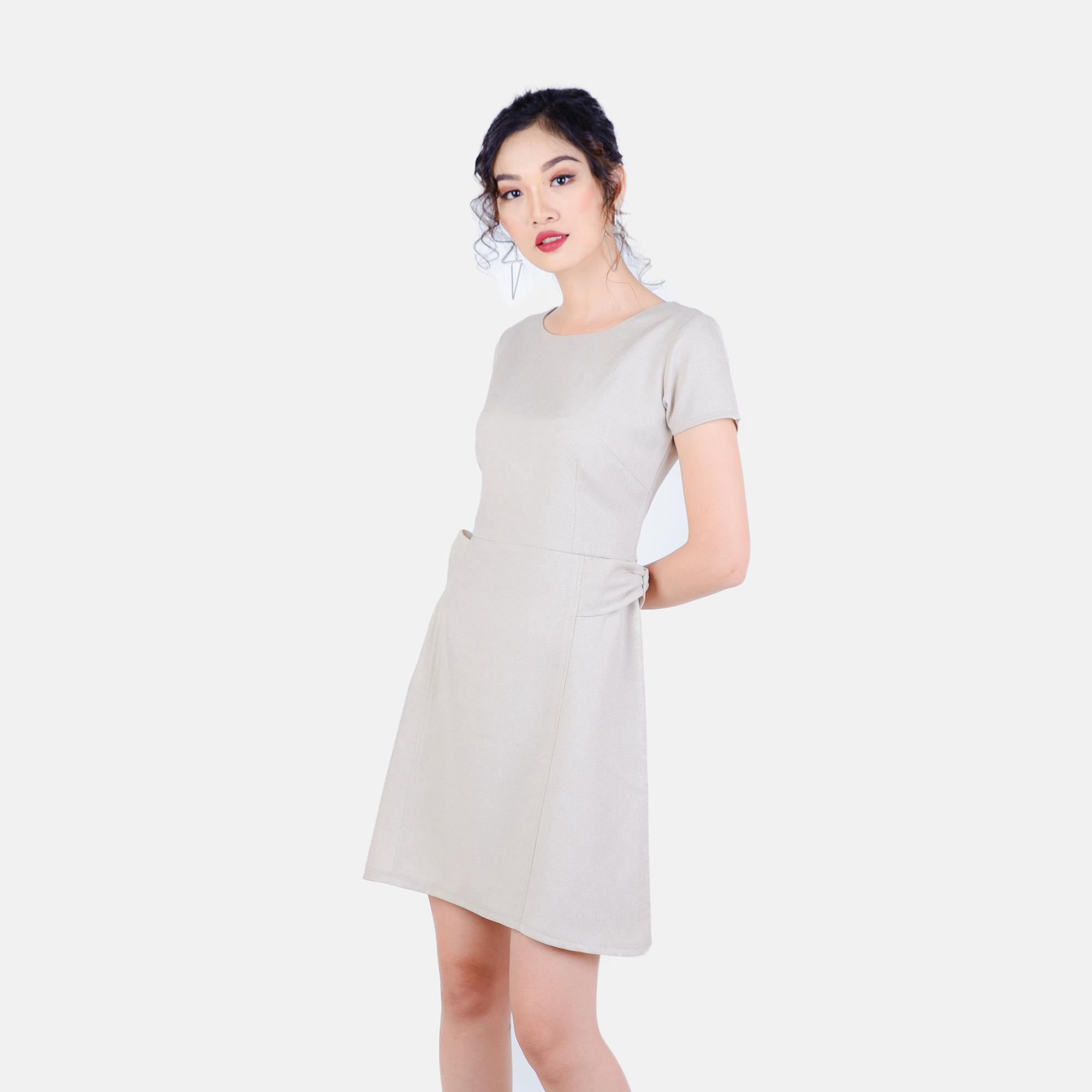 Đầm công sở phối nơ eo thời trang Eden d189 (kem)