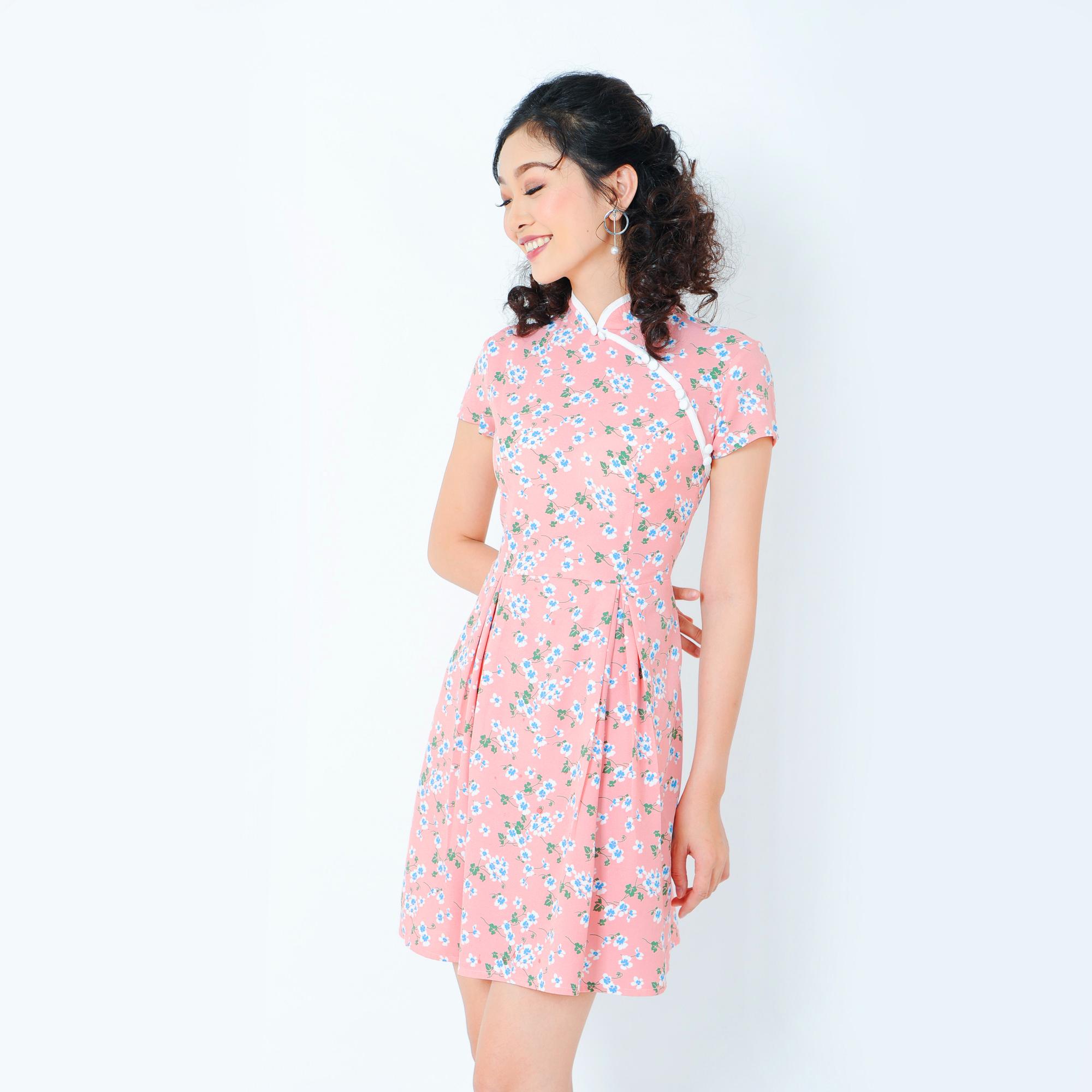 Đầm xòe cổ sườn xám thời trang Eden d202 (hồng)