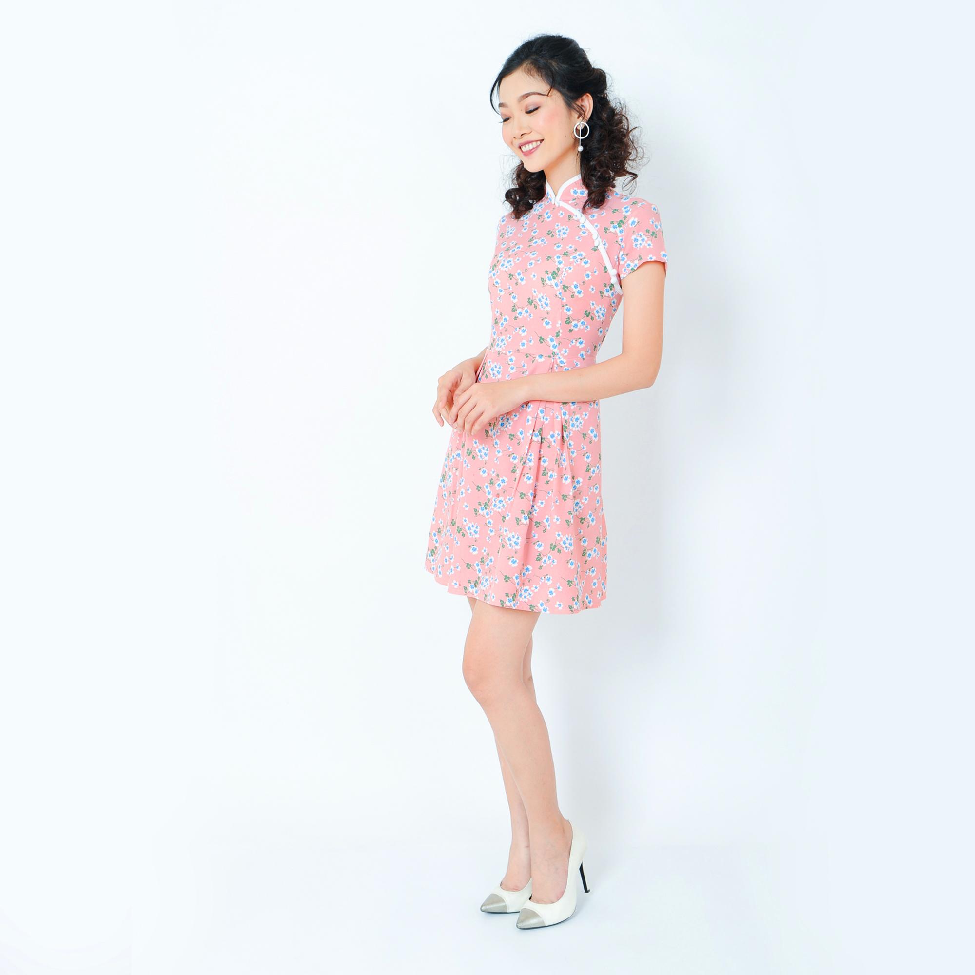 Đầm xòe cổ sườn xám thời trang Eden d202 (hồng nhạt)