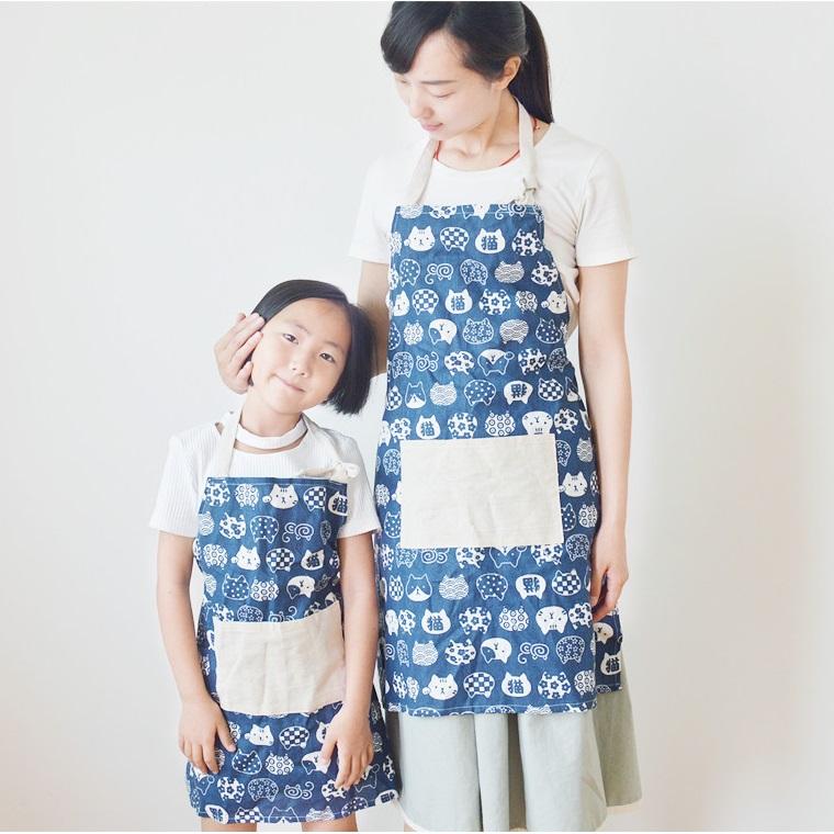 Set tạp dề mẹ và bé (Xanh)