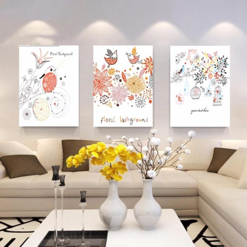 Bộ 3 tranh treo tường chim hót