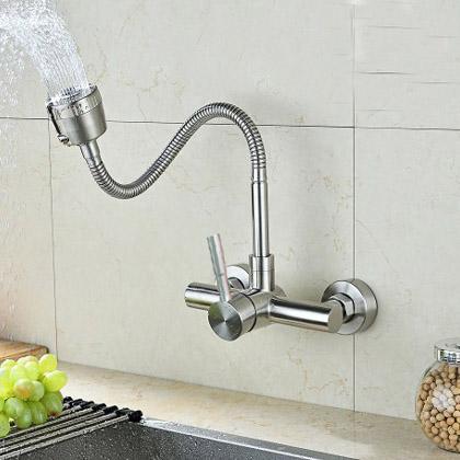 Vòi rửa bát gắn tường nóng lạnh inox304 Zento SUS4651