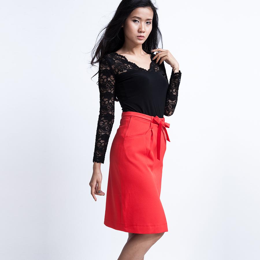 Váy bút chì thắt nơ SKI007 (cam paprika)