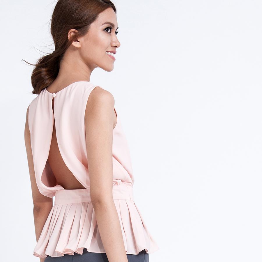 Áo thắt eo peplum hở lưng TOP027 (hồng champagne)