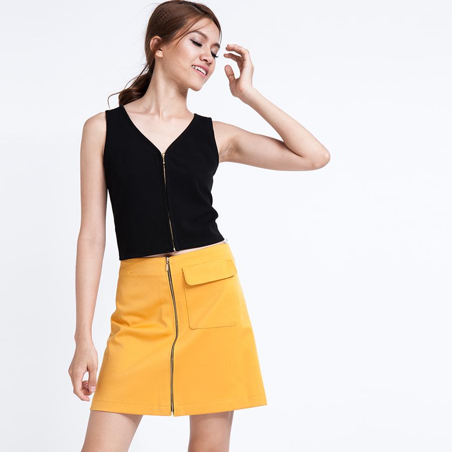 Váy mini ngắn khóa kéo trước SKI005 (đồng gold)