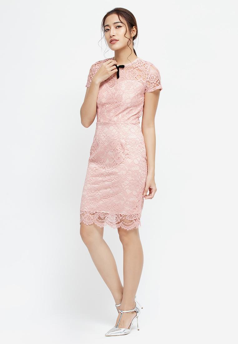 Đầm ôm Amun ren hồng đính nơ cổ DOM153-HONG